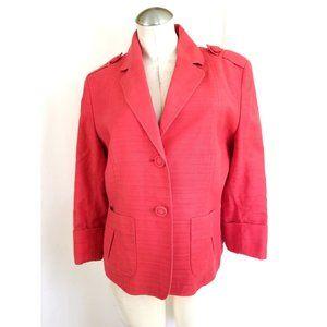 Anne Klein Size 14 Pink Linen Cotton Blazer